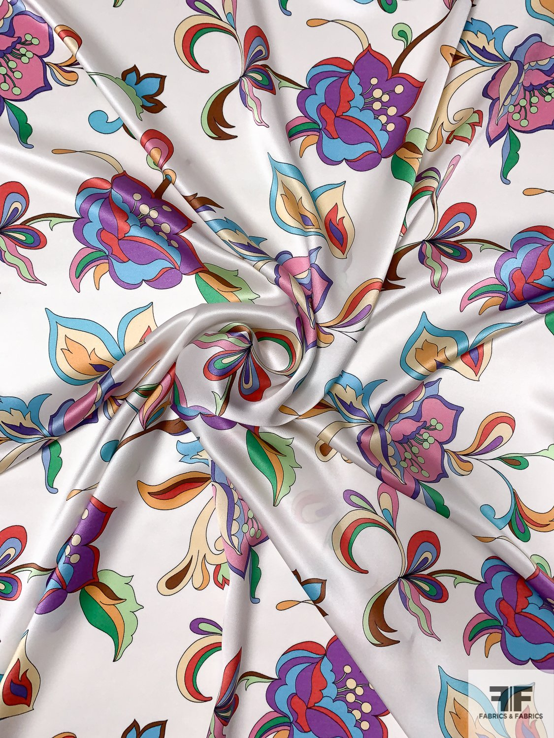 Pucci Inspired Floral Printed Silk Charmeuse - Multicolor