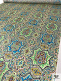 Paisley Rug Inspired Printed Silk Charmeuse - Shades of Green / Turquoise / Maroon