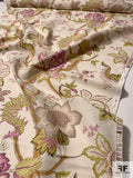 Vintage-Look Floral Printed Heavy Linen Cotton - Ivory / Orchid / Green / Earth