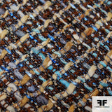 Checkered Wool Tweed - Brown/Blue - Fabrics & Fabrics NY