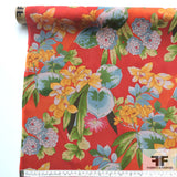 Tropical Floral Printed Silk Chiffon - Red/Multicolor