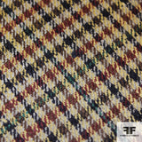 Houndstooth Wool Suiting - Tan/Blue/Brown/Maroon