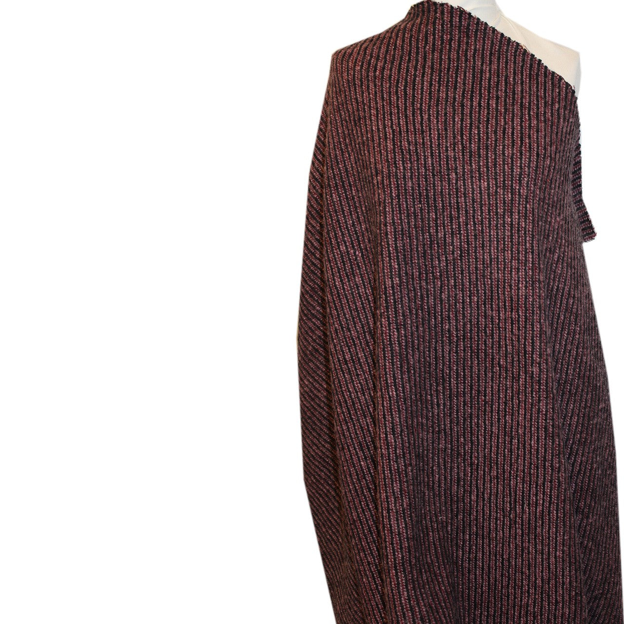 Striped Wool Tweed - Purple/Black