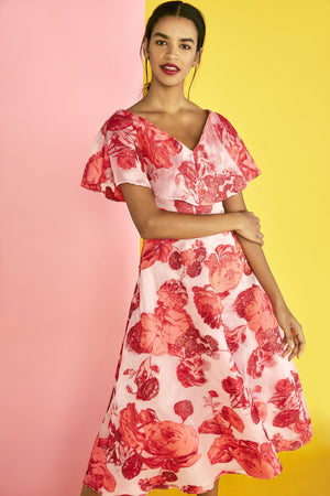 Italian Lela Rose Oversize Floral Fil Coupe Organza - Peony / Pink / Red / White