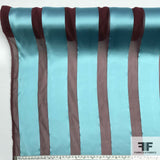 Striped Satin Chiffon Burnout - Blue/Maroon