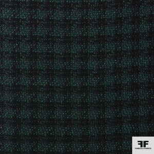 Checkered Wool Suiting - Green/Black - Fabrics & Fabrics NY