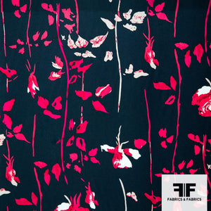 Bold Floral Printed Charmeuse - Black/Pink/White