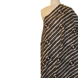 Striped Dot Printed Cotton Pique - Brown/White