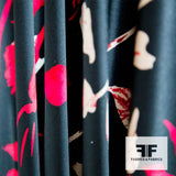 Bold Floral Printed Silk Charmeuse - Black/Red/White - Fabrics & Fabrics NY