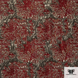 Abstract Metallic Brocade - Red/Gold