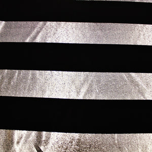 Striped Metallic Lamé - Silver/Black