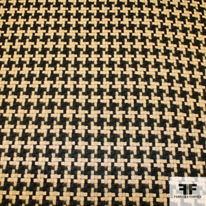 Wool Houndstooth - Green/Black/Beige