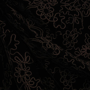 Floral Embroidered Velvet - Black/Grey