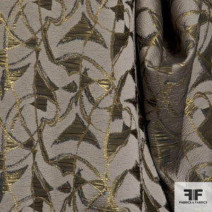 Metallic Abstract Brocade fabric - Gold/Brown