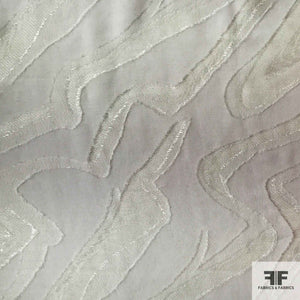 Abstract Silk Chiffon Burnout - White