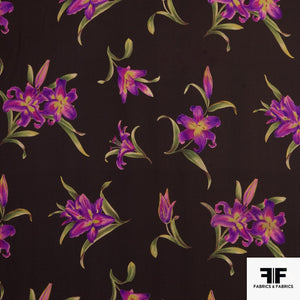 Floral Printed Silk Georgette - Brown/Magenta