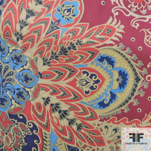 Floral Printed Silk Chiffon - Red/Multicolor