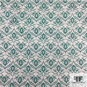 Damask Brocade- Green/White - Fabrics & Fabrics NY