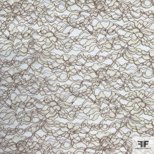 Double Scalloped Leavers Lace - Ivory/Mauve - Fabrics & Fabrics NY