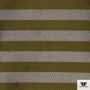 Yarn Died Silk Stripe - Green/Silver
