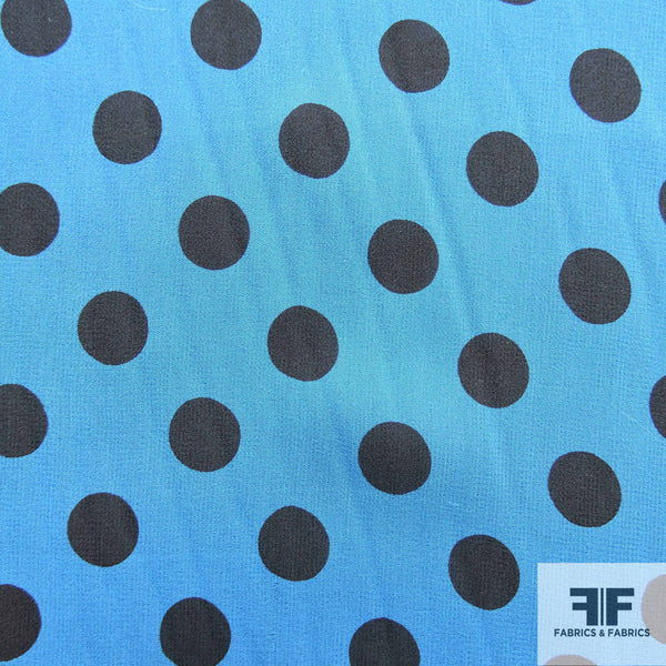 Polka Dot Printed Silk Chiffon -Blue/Black