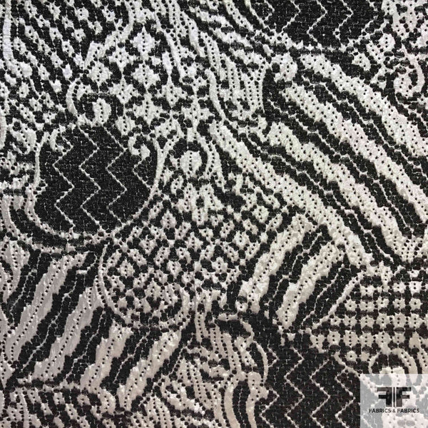 Metallic Abstract Brocade - Silver/Black