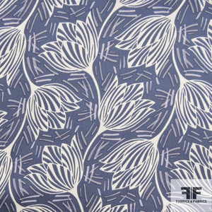 Abstract Floral Printed Silk Chiffon - Blue/White