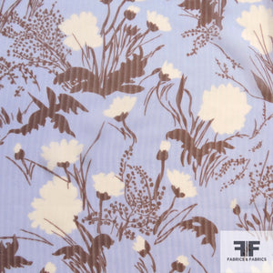 Floral Printed Silk Chiffon - Blue/Brown