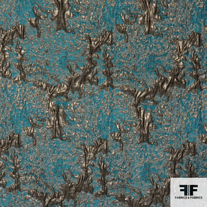 Metallic Abstract Brocade - Gold/Turquoise