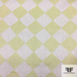 Checkerboard Brocade - White/Citrus - Fabrics & Fabrics NY
