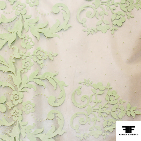 Floral Motif Flocked Tulle - Green