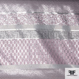 Stripe Panel Metallic Brocade - Pink/Silver
