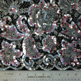Metallic Beaded Chantilly Lace - Silver/Pink
