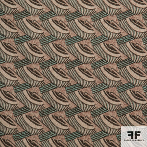 Abstract Geometric Wool Crepe fabric - Green/Maroon/Cream