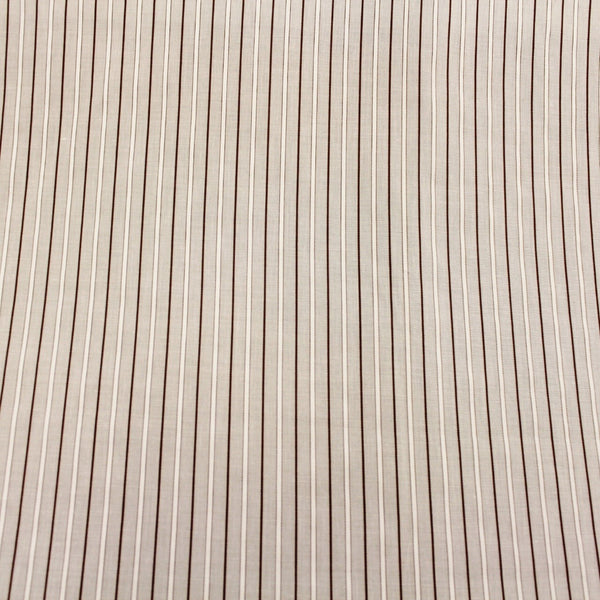 Multistriped Cotton Shirting - White/Brown/Cream