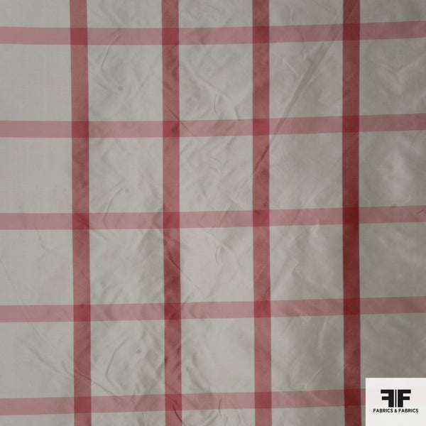 Yarn Died Silk Plaid - White/Pink/Red