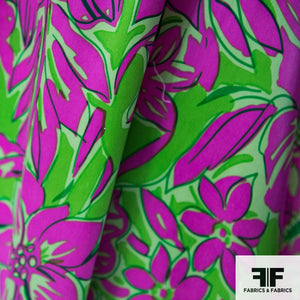 Bright Floral Printed Silk Charmeuse - Purple/Green - Fabrics & Fabrics NY