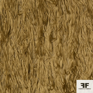 Feathery Novelty Silk Blend fabric in camel color