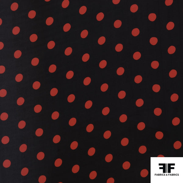Polka Dot Printed Silk Georgette - Black/Red