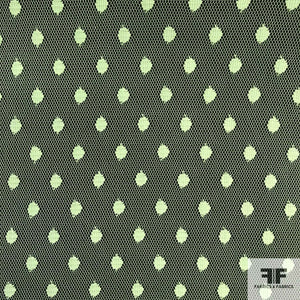 Point D'esprit Polka-Dot Tulle - Lime Green