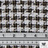 Houndstooth Cotton Blend Tweed - Black/White/Brown