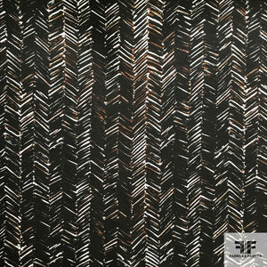 Chevron Printed Silk Twill - Black/Brown - Fabrics & Fabrics NY