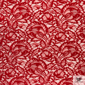 Double Scalloped Leavers Lace - Red - Fabrics & Fabrics NY