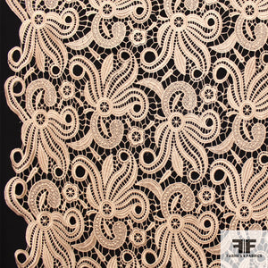 Abstract Floral Guipure Lace - Beige