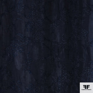 Floral Wool Gauze - Indigo Ombre Dyed