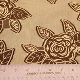 Floral Applique Novelty fabric - Brown/Ivory