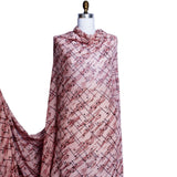 Dot & Striped Printed Silk Chiffon - Light Pink/Red/Black