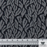 Woven Leafs Brocade - Black/Grey