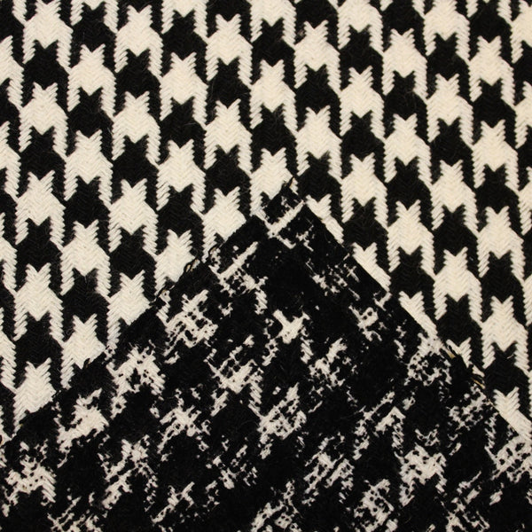 Abstract Wool Houndstooth - Black/White - Fabrics & Fabrics NY