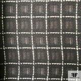 Geometric Check Printed Silk Chiffon - Black/Grey